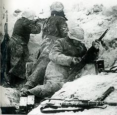 En la de la trinchera en invierno ,no se ve ninguna divisa que los identifique,pero en la informacion pone que son españoles en el frente de Leningrado.Imagen