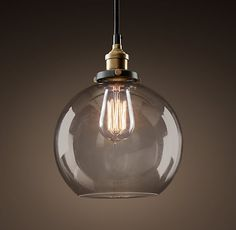 20th C. Factory Filament Smoke Glass Café Pendant