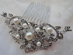 Vintage style rhinestone bridal hair pearl deco comb by VogueHouse