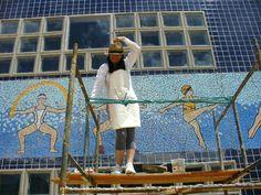 "Painel em mosaico de cerâmica Strufaldi ""Esportes"" # Campinas # Clube # Circulo Militar"