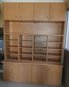 Built in storage with filing unit Made to measure in our work shop and fitted on site. Size 2m x 2m, Oak soft-line Melamine.  www.kznprop.co.za 0315643855 Built In Storage, Filing, Bookcase, Workshop, The Unit, Shelves, Home Decor, Atelier, Shelving
