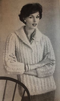 Women s Mohair Twisted Rib Sweater with Shawl Collar - Slipon or Cardigan  options - Vintage Knitting d7e66f411