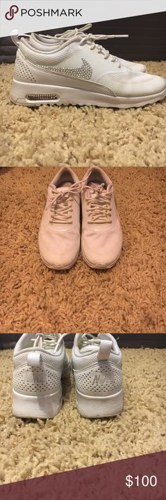 Nike air max White nikes with personalized studded Nike symbol. Worn but in good condition! Nike Shoes Athletic Shoes