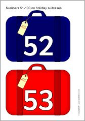 The numbers presented on coloured holiday suitcases. An extension to our existing Numbers on holiday suitcases resource. Sparkle Box, Free Teaching Resources, Number Recognition, Suitcases, Elementary Schools, Numbers, The Unit, Holiday, Role Play