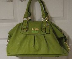 Coach Madison bag in lime green leather. Love this color.