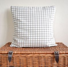 Cream Gingham Check Cushion