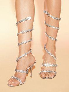 I heart sparkly stuff! Wraparound Rhinestone Sandals.