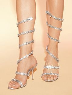 Wraparound Rhinestone Sandals.