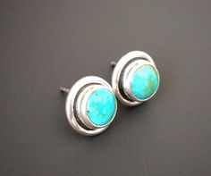 Turquoise Sterling Silver Stud Earrings Post Round Studs Blue Earring Natural