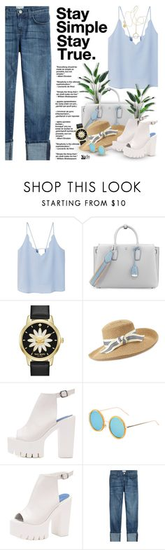 """""""Stay Simple, Stay True"""" by defivirda ❤ liked on Polyvore featuring MANGO, MCM, Kate Spade, Eric Javits, Current/Elliott and Ginette NY"""
