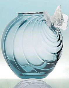 "$4000 LALIQUE 2 BUTTERFLY OCEAN BLUE  8"" VASE Papillions BUTTER FLY MINT IN BOX"