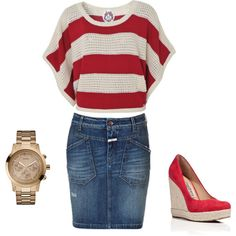 Love the top and shoes, I'd put them with a long jean skirt.