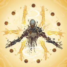 "Zenyatta by ChasingArtwork | ""I was commissioned by Blizzard to illustrate a character from their upcoming game Overwatch. Was a pretty cool project to be involved in. I was thrilled to have the chance to tackle the coolest robot in the lineup, then quickly proceeded too shatter him into vector pieces. Zenyatta is a robotic monk, with a pretty stellar look, and some especially rad powers. Felt like a easy match for my style, was a ton of fun to paint. "" —ChasingArtwork"