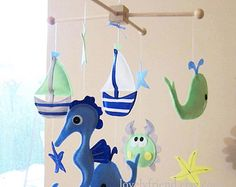 Baby Mobile Sailboats and Whales Crib Mobile by lovelyfriend
