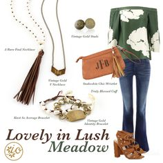 Camel and green (lush meadow) make a great pair, so play up your favorite green top or dress the trendy way! Mixing different textures adds interest to your look. We chose a suede tassel necklace layered with a vintage gold top layer and earrings to complete this look. This bracelet stack is far from boring with pearls and mixed metals. Don't forget your snakeskin clutch...it's a fall must- have!