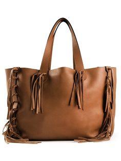 Valentino C-Rockee fringed leather tote Brown Leather Handbags, Brown Leather Totes, Leather Fringe, Valentino Handbags, Tote Handbags, Tote Purse, Tote Bags, Bag Accessories, Valentino Garavani