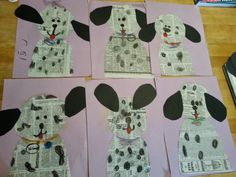 Dalmatian Dogs - Newspaper Art Project