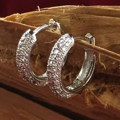 Retro Sterling Silver Paved Zircon Petite Hoop Pierced Earrings ES MIE9980|We combine shipping|No Question Refunds|Bid $60 for free shipping. Starting at $1