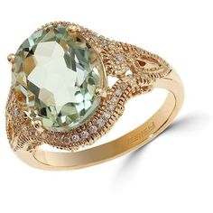 Effy Final Call Diamond, Green Amethyst & 14K Yellow Gold Ring (2.165 BRL) ❤ liked on Polyvore featuring jewelry, rings, gold, yellow gold rings, diamond jewelry, gold diamond rings, green amethyst gold ring and gold ring