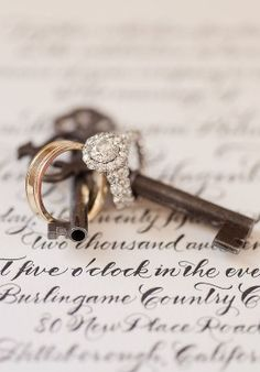 really love this idea for a ring shot, since we'll have skeleton keys at the wedding