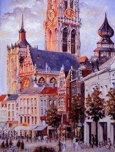 Eiermarkt bij valavond Antwerpen, België. Olieverf op linnen. Vera Cauwenberghs