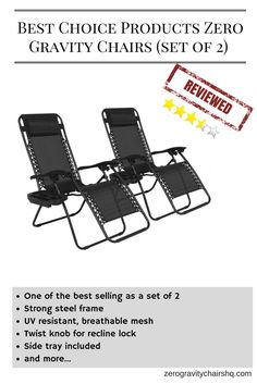 [REVIEW] Best Choice Products Zero Gravity Chairs (set Of 2)   One