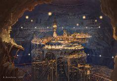 The amazing digital art - 墓標都市 (Gravestone city) by K,Kanehira Fantasy City, Fantasy Places, High Fantasy, Fantasy World, Fantasy Art Landscapes, Fantasy Landscape, Future City, Steampunk City, City Drawing