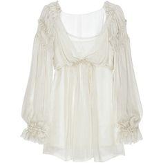 Ruffled silk-chiffon blouse