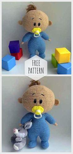 Amigurumi Baby Doll kostenlose Anleitung - hackovanie - Leads For Amigurumi Crochet Mittens Free Pattern, Crochet Patterns Amigurumi, Amigurumi Doll, Crochet Dolls, Crochet Baby Beanie, Crochet Toddler, Baby Knitting, Baby Doll Clothes, Baby Dolls