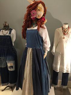 SOLD to TALULA Up Cycled Denim Wrap Dress/Jumper - Recycled Denim Pinafore-Raggandbone Denim Jumper-Junk Gypsy Free People Style-Sz L/XL