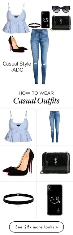 """Casual Style"" by anaarmanii on Polyvore featuring H&M, Christian Louboutin, Yves Saint Laurent, La Perla and Lynn Ban"