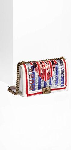 98638a43893e CHANEL - White, blue & red large Boy Chanel Handbag Chanel Handbags,  Fashion Handbags