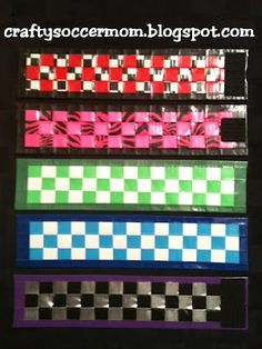 Crafty Soccer Mom: More Duct Tape Weave Bracelets Duct Tape Bookmarks, Duct Tape Bracelets, Woven Bracelets, Duct Tape Projects, Washi Tape Crafts, Duck Tape Crafts, Fun Arts And Crafts, Crafts For Kids, Tape Art