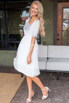 White Embroidered Modest Dresses   Modest Bridesmaids Dresses - Neesee's Dresses Older Women Fashion, Womens Fashion, White Dress, Fashion Tips, Dresses, Vestidos, Gowns, Women's Fashion, Ladies Fashion