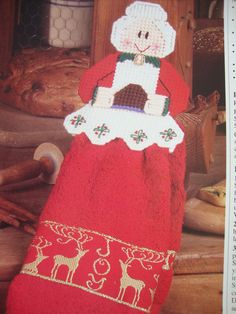 MRS SANTA TOWEL TOPPER  **PLASTIC CANVAS PATTERN ONLY**(3) #Plasticcanvas Stitching Patterns, Needlepoint Patterns, Cross Stitching, Cross Stitch Patterns, Plastic Canvas Patterns, Christmas Stockings, Projects To Try, Towel, Xmas