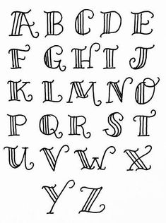 alphabet different font styles Hand Lettering Alphabet, Doodle Lettering, Creative Lettering, Lettering Styles, Lettering Design, Font Styles, Bullet Journal Font, Journal Fonts, Journaling