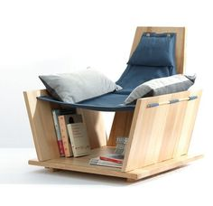 Armless chair with storage under for books