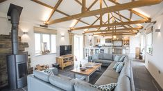 Fabulous open-plan living and exposed rafters View Barn Conversion Kitchen, Barn Conversion Interiors, Barn Conversions, Log Home Plans, Barn Plans, Metal Building Homes, Building A House, 1970s House, Luxury Holiday Cottages