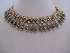 Items similar to 018 Vintage Olivine and Champagne Pearl Beadwork Necklace Choker Bib with Champagne Olivine Pearl Dangle Drops on Etsy Bead Jewellery, Jewelry Making Beads, Beaded Necklace Patterns, Beaded Bracelets, Jewelry Crafts, Handmade Jewelry, Schmuck Design, Artisanal, Pearl Beads