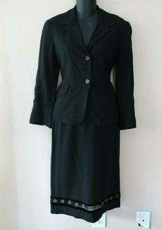 ff80305d17d625 Moschino Jeans Black Wool Blend 2 Piece Jacket   Skirt Suit Sz US 8 IT 42