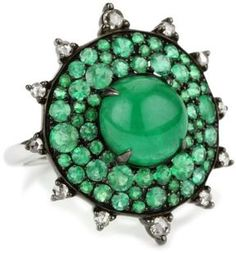 "Nam Cho ""Bull's Eye"" Cocktail Ring with Neon Emeralds in 18k at ShopStyle"