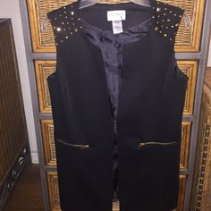 Black and gold studded vest Gently used best just. Dry cleaned  size small   Soft and. Jet black not faded  comes down to little past waist  pockets are zippers and opens.  Small link to close in middle  89%poly Kate and mallory Other