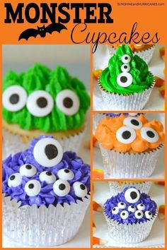 These adorable monster Halloween cupcakes are easy to make and fun for kids to customize. A great treat for a Halloween party, a school Halloween party or a fall festival. Halloween Cupcakes, Halloween Games, Halloween Treats, Halloween Party, Halloween Baking, Holiday Cupcakes, Haunted Halloween, Halloween Foods, Halloween Design