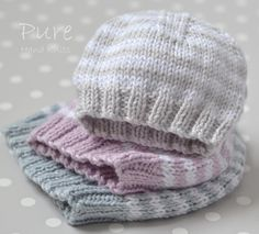 Preemie and Newborn hat 'Little One' Knitting pattern by Pure Hand Knits – Hand Knitting Baby Hat Knitting Patterns Free, Baby Hat Patterns, Christmas Knitting Patterns, Baby Hats Knitting, Easy Knitting, Knitted Hats, Knitted Baby Beanies, Baby Knits, Newborn Knit Hat