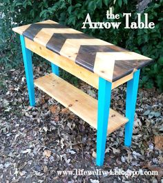 Life We Live 4: The Arrow Table  Eclectic Wooden Entry Table.island. sofa Table. With Dark Stain and Turquoise Legs