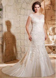 Elegant Tulle Bateau Neckline Mermaid Plus Size Wedding Dress With Lace Appliques