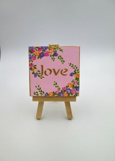 Love Mini canvas painting with mini easel original by 18MoodsArt