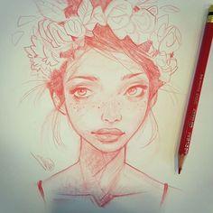WEBSTA @ melmadedooks - This mornings #portraitdrawing #portraitsketch #hair…