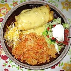 Chicken Chimichangas with Sour Cream Sauce...great as leftovers and also can just make them as enchiladas. Be sure to read the reviews and follow the suggestions (double the spices, etc.).