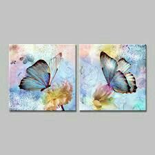 arte Butterfly-blue-and-pink-yellow-art-print-of-the-canvas-decorative-painting-pictures-of-the. Butterfly Painting, Butterfly Art, Butterflies, Acrylic Art, Animal Paintings, Painting Inspiration, Painting & Drawing, Watercolor Paintings, Art Drawings